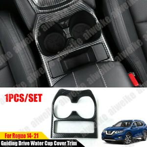 For Nissan Rogue 2014-2021 Carbon Fiber Style Guiding Drive Water Cup Cover Trim