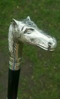 CLASSIC STYLE WOODEN WALKING STICK CANE HORSE FACE HANDLE NICKLE FINISH