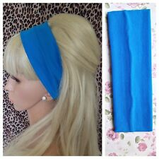 7cm WIDE TURQUOISE JERSEY STRETCH UNISEX HAIR HEAD BAND GYM SPORT SCHOOL DANCE
