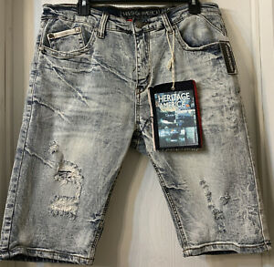 Chino Shorts 40 BHFO 7814 Heritage America Mens White Cotton Embroidered Khaki