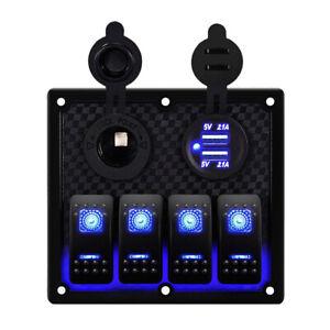 4 Gang Rocker Switch Panel for Car Boat Marine LED USB Charger ON OFF Toggle 12V