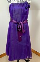 Debut Debenhams Size 16 Silk Purple Taffeta Cocktail Evening Bridesmaid Dress