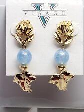 Visage Vintage Earrings Drop Blue Glass Gold Tone Flower Pierced New Old Stock