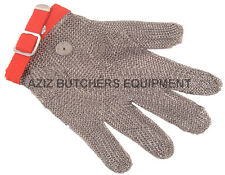 5 Finger Chainmail Protective Glove, Flexible strap, Full Hand Protection,MEDIUM