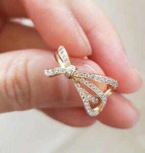Auth Tiffany co rose gold diamond bow ribbon ring size 5.5 box rev description
