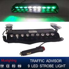 9 LED Emergency Warning Hazard Dash Board Flash Strobe Light 12V Green White Gre