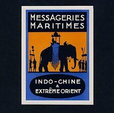 Reederei MESSAGERIES MARITIMES Asien Elefant * Old Luggage Label Kofferaufkleber
