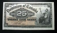 OLD CANADIAN SHINPLASTER BANK NOTE 1900 DOMINION OF CANADA 25 CENTS T.C. Boville