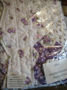 NEW Shabby Chic LAVENDER PURPLE Rose Quilted Pillow WILINGTON  Sham ~ STANDARD