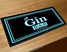 The Gin Bar, Retro 80's Neon light style party bar runner mat Pubs Home bars