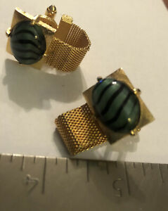 VTG Green W/ Black Stripes Waves Gold Tone Mesh Wrap Around Cufflinks Cuff Links