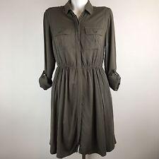 MAEVE Anthropologie Olive Green Military Army Safari Dress Medium 3/4 Sleeve