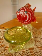 VINTAGE ART GLASS BLOW FISH ASHTRAY ~ MURANO? ~ DARLING!
