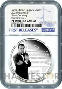 JAMES BOND LEGACY - SEAN CONNERY - 1 OZ. SILVER COIN - NGC PF70 FIRST RELEASES