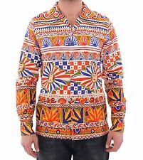 NWT $800 DOLCE & GABBANA Orange Multicolor Floral Runway Casual Shirt s. 37 / XS