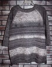 NWT Hanna Andersson Women's Gray Stripe Pullover Sweater  L