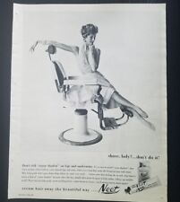 1958 Neet hair remover don't risk razor Shadow on legs Barber chair vintage ad
