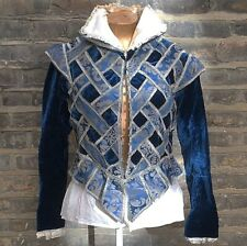 Vintage Theatre Costume Blue Prince Victorian Edwardian Shirt Medium