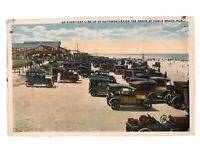 Line Up Of Automobiles On The Beach, Pablo Beach, Florida FL Postcard