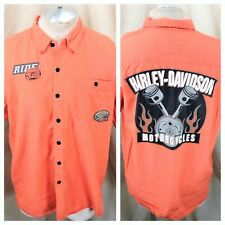 """Harley Davidson Motorcycles """"Pre-Luxe Parts & Oil"""" (Large) Button Up Work Shirt"""