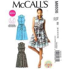 McCalls 6506 Pattern Button Dress Sleeveless Shirtwaist Dress Pleated Skirt 8-16