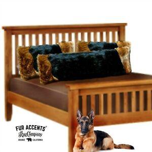One Plush Faux Fur Pillow Sham, Black Bear, Brown Wolf Trim, Body, Queen or King
