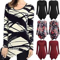 Fashion Women O-Neck Long Sleeve Asymmetrical Tunic Shirt Loose Tops Blouses