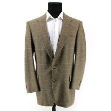 Sterling & Hunt 2 Btn 100% Camel Hair Sport Coat Mens Sz 42 R Houndstooth Plaid