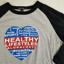 Womens Healthy Lifestyles Event Baseball Tee T-shirt Run Yoga Vegan Gym Medium