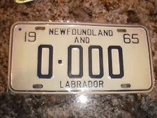 1965 NEWFOUNDLAND SAMPLE LICENSE PLATE 0000