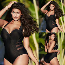 Womens Plus Size Monokini Push-up Padded One Piece Swimsuit Swimwear Beachwear