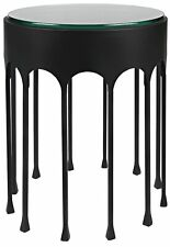 "20"" W Set of 2 Accent Table Round Glass Top Modern Black Metal Arch Frame"