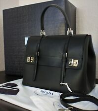 Prada City Calf Leather Top Handle Briefcase Style Handbag with Removable Strap