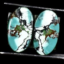 Earring Pair- Tibet Turquoise Oval Cabochon 100% Natural Loose Gemstones 06.05Ct