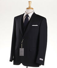 NWT $2395 CANALI 1934 3-Piece Woven Black Stripe 'Travel' Wool Suit 42 R