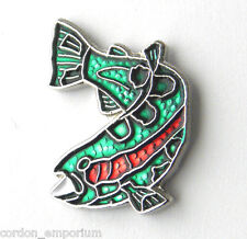 FISH WILDLIFE TROUT TAIL UP GREEN SPOTTED LAPEL PIN BADGE 1 INCH