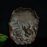"""5"""" Chinese old antique wood bamboo carving Lotus Frog statue Brush Washer"""