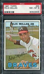 1967 Topps #89 Felix Millan PSA 8 NM-MT