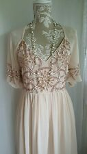 Vtg 1920,s style Gatsby nude pink beaded bridesmaid wedding dress size 8