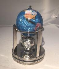 Small Turquoise Blue Gemstone Inlaid Globe on Spinning Stand & Clocks