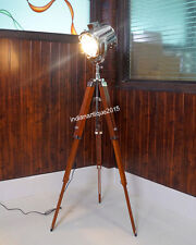 Designer's Floor Searchlight With Wood Base Tripod Stand Brown Color Spotlight