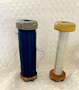 "2 Antique Vintage 4"" Wooden Industrial Textile Bobbins Spools"