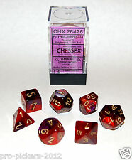 Chessex Dice CHX 26426 Purple Red Gold Gemini Polyhedral Die Set Role Play Game