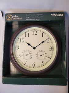Garden Treasures Clock With Thermometer And Hydrometer INDOOR/OUTDOOR 13 in...