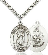 925 Sterling Silver St Christopher Marines Military Catholic Medal Necklace