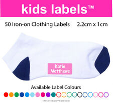 Kids Labels -> Qty  50 x Iron-on Clothing Labels  Back to School