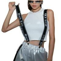 Extra Wide Adjustable Elastic Women Letter Suspenders Clip-On Braces Trouser