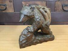 Y0552 Okimono Ours Bois Sculpture Artisanat Japonais Ancien Statue Figure Japon