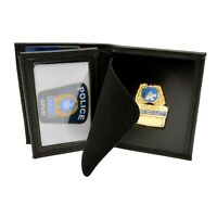 Perfect Fit Montreal Police Badge Case Holder Credit Card Wallet Black Leather