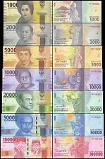 Indonesia 1,000 (1000)-100,000 (100000) Rupiah 7 Pieces (PCS) Set,2016,P-NEW,UNC